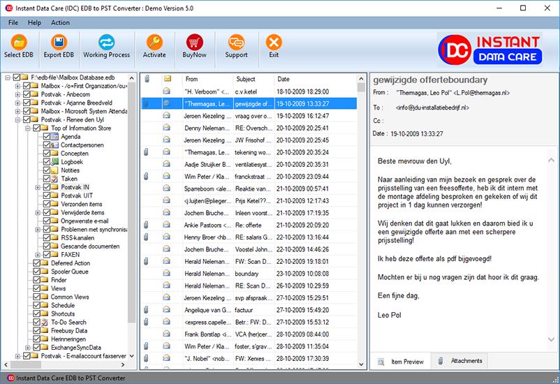 Instant Data Care EDB to PST full screenshot