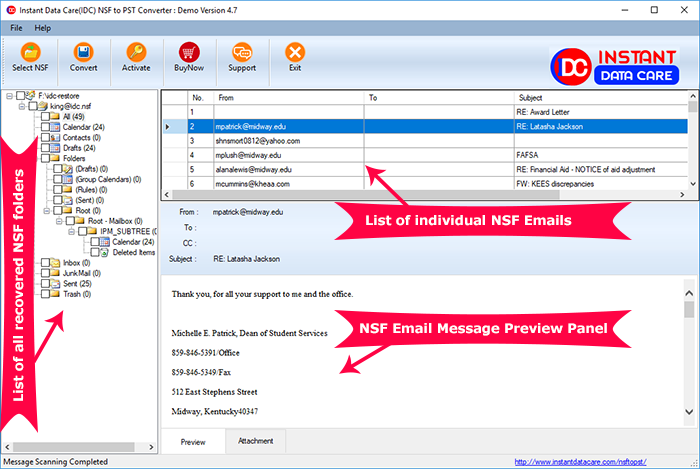 Click to view Instant Data Care NSF to PST 4.7 screenshot