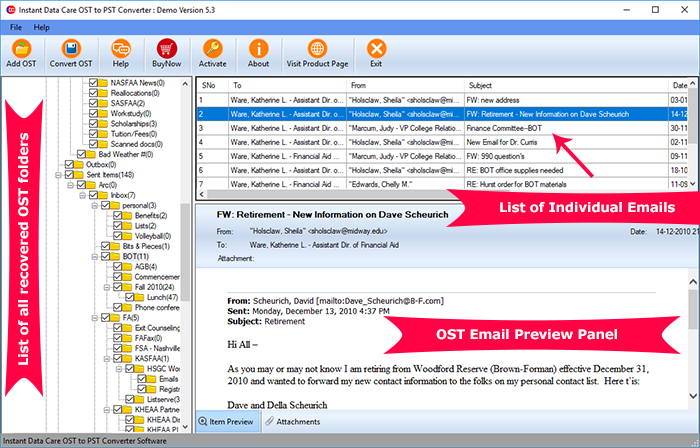 Instant Data Care OST to PST full screenshot